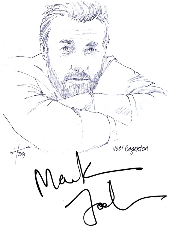 Autographed drawing of actor Joel Edgerton