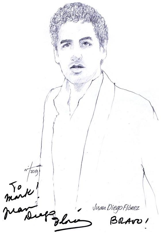 Autographed drawing of tenor Juan Diego Florez