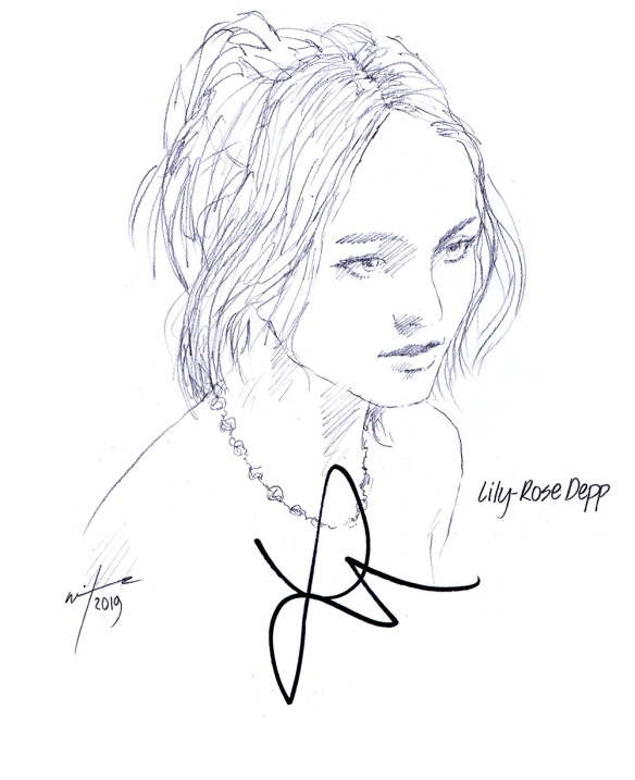 Autographed drawing of actor Lily-Rose Depp