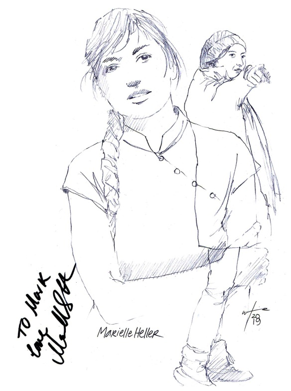 Autographed drawing of director Marielle Heller