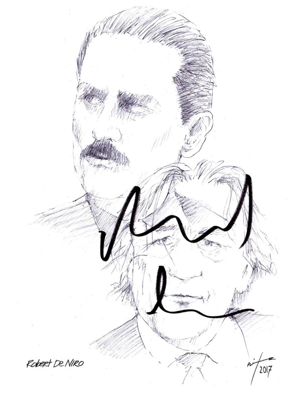 Autographed drawing of actor Robert De Niro