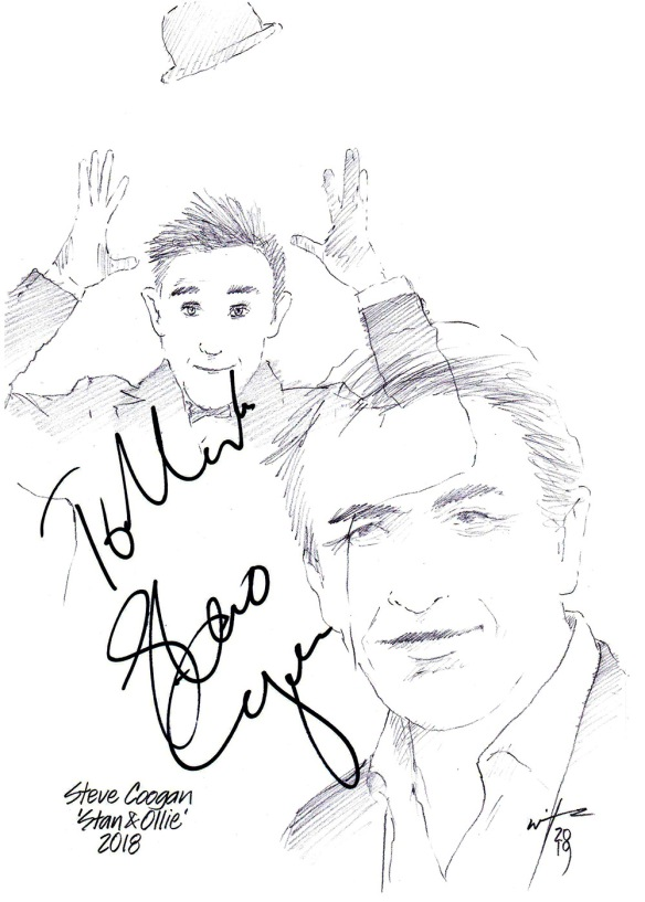 Autographed drawing of actor Steve Coogan