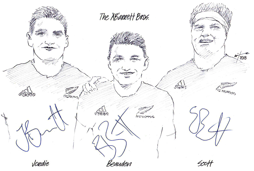 Autographed drawing of All Blacks the Barrett Brothers