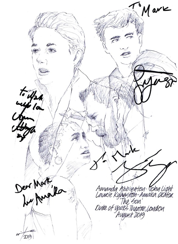 Autographed drawing of Laurie Kynaston, Amanda Abington, John Light and Amaka Okafor in The Son at London's Kiln Theatre