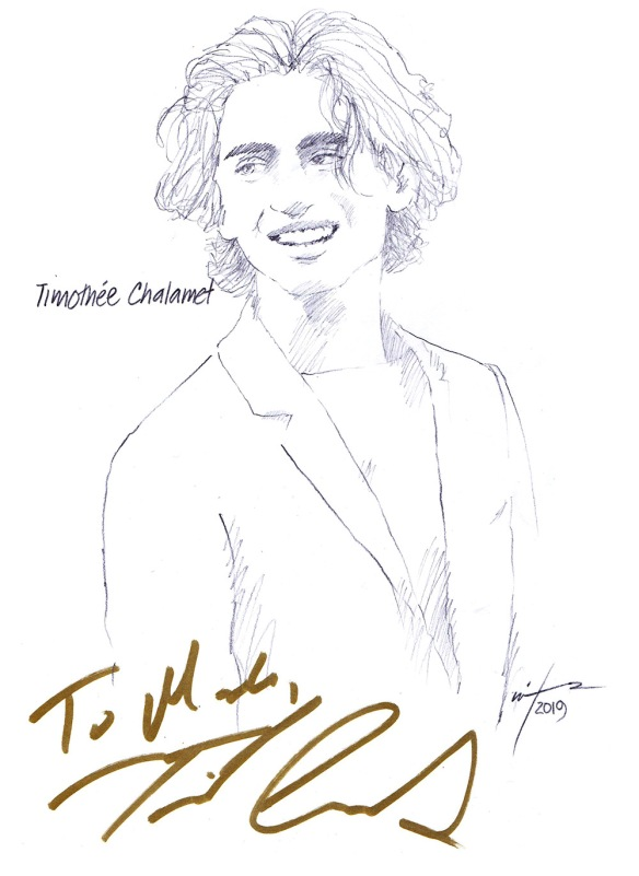 Autographed drawing of actor Timothée Chalamet