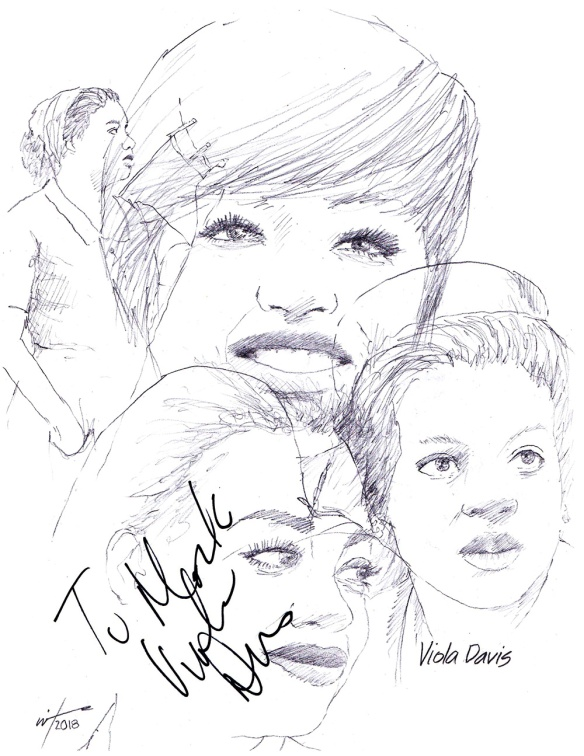 Autographed drawing of actor Viola Davis