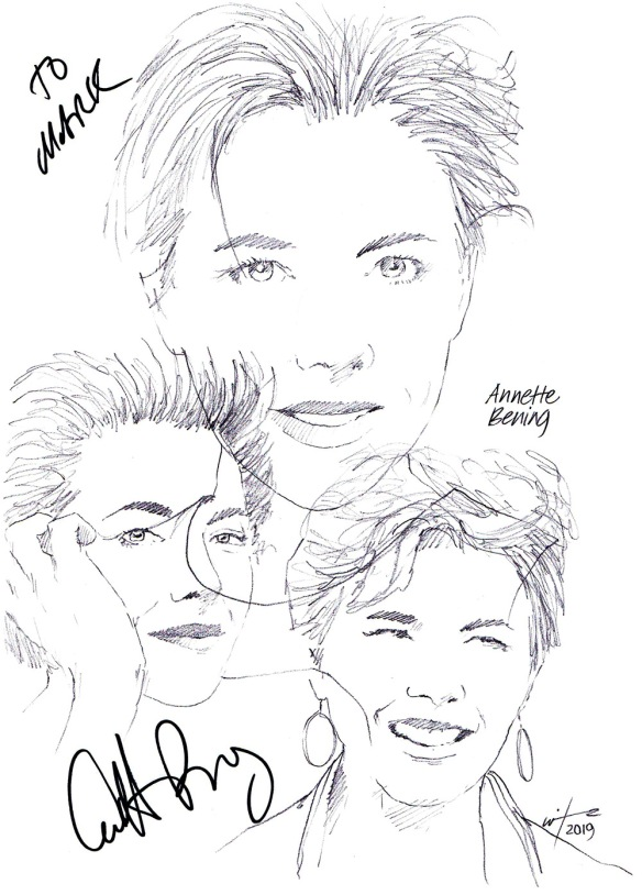Autographed drawing of actor Anette Bening