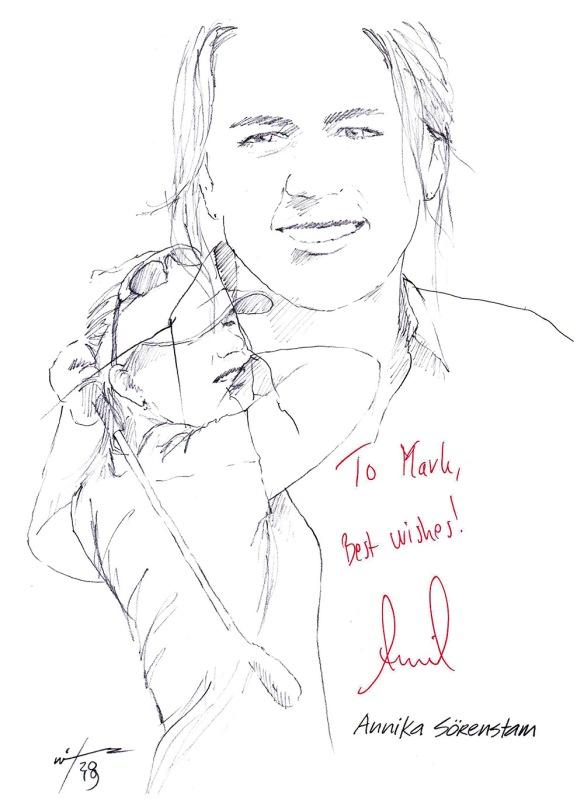 Autographed drawing of golfer Annika Sorenstam
