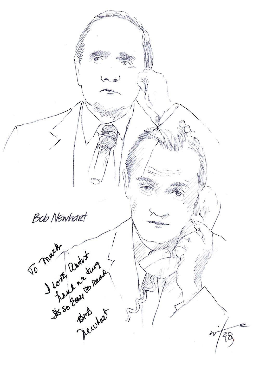 Autographed drawing of comedian Bob Newhart