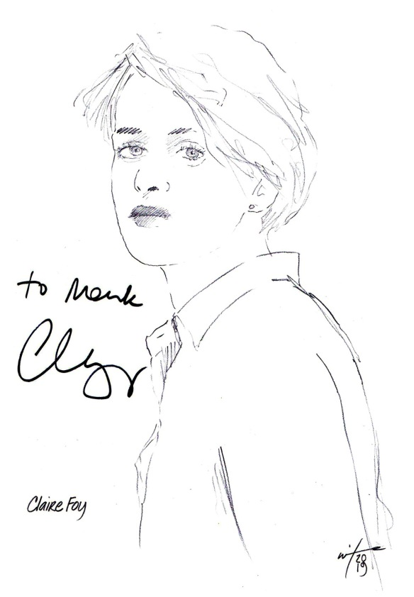 Autographed drawing of actor Claire Foy