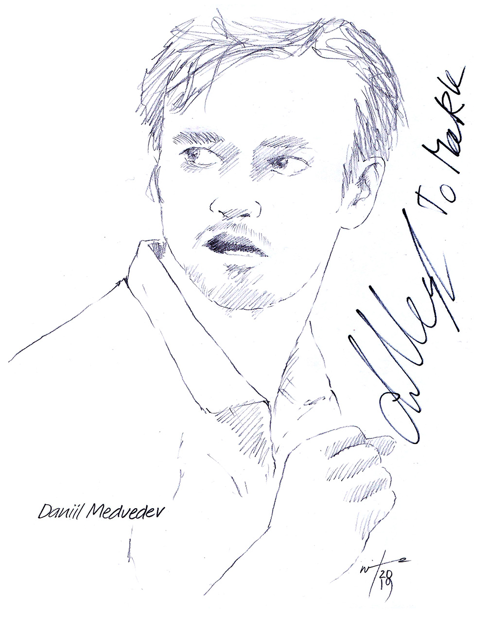 Autographed drawing of tennis player Daniil Medvedev