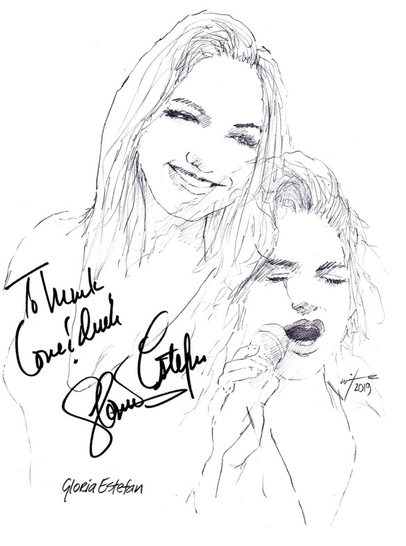 Autographed drawing of singer Gloria Estefan