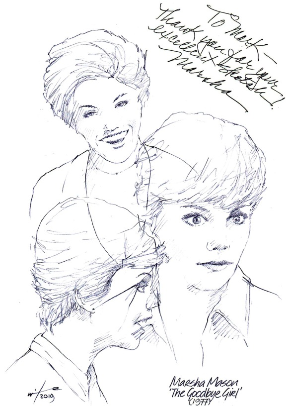 Autographed drawing of actor Marsha Mason in The Goodbye Girl