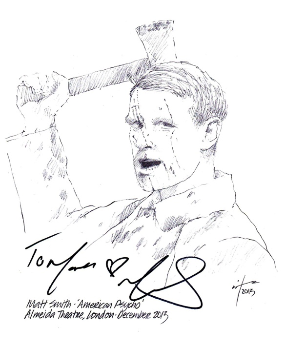 Autographed drawing of actor Matt Smith in American Psycho at the Almeida Theatre