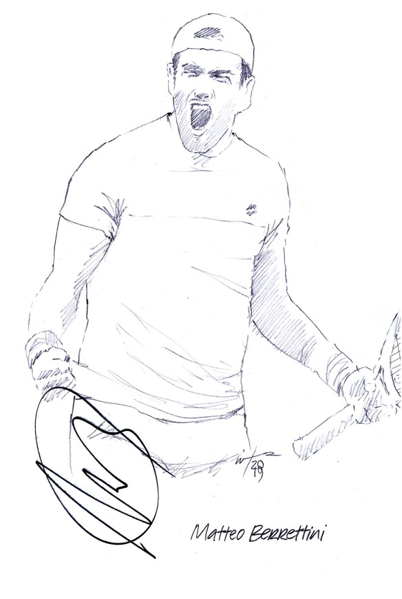 Autographed drawing of tennis player Matteo Berrettini