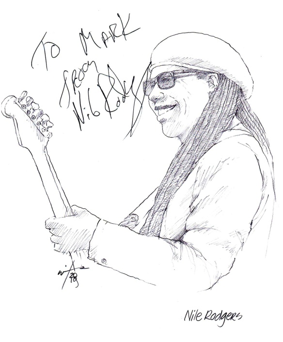 Autographed drawing of musician Nile Rodgers