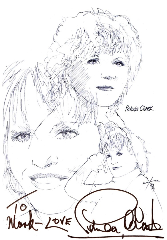 Autographed drawing of actor Petula Clark