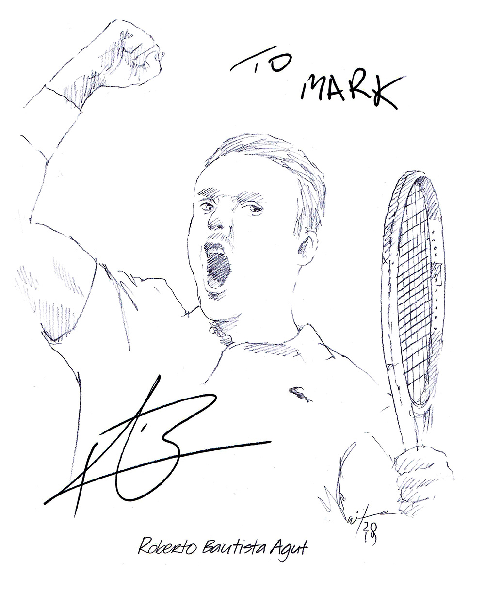 Autographed drawing of tennis player Roberto Bautista Agut