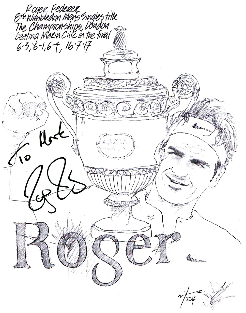 Autographed drawing of tennis player Roger Federer with his 8th Wimbledon Men's Singes Title