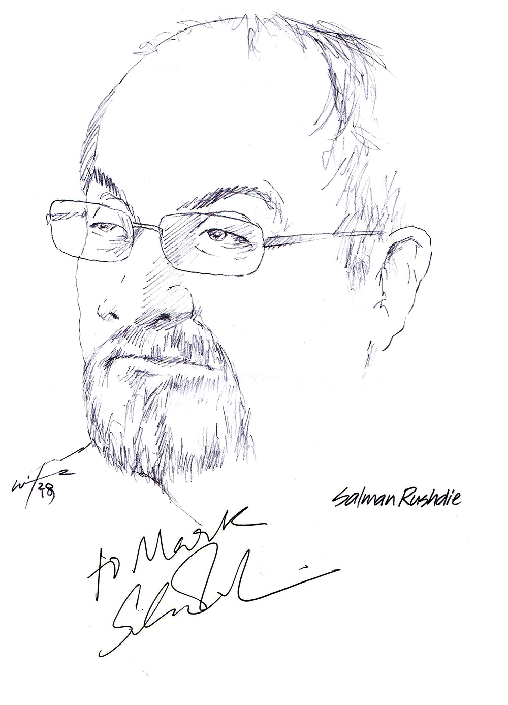 Autographed drawing of writer Salman Rushdie