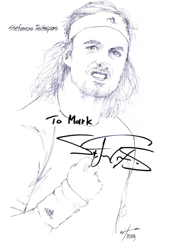 Autographed drawing of tennis player Stefanos Tsitsipas