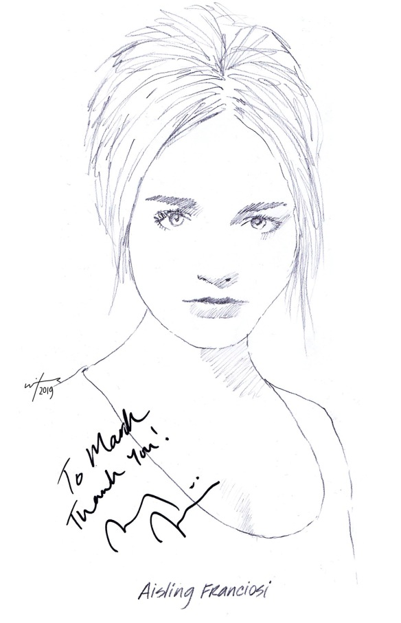 Autographed drawing of actor Aisling Franciosi