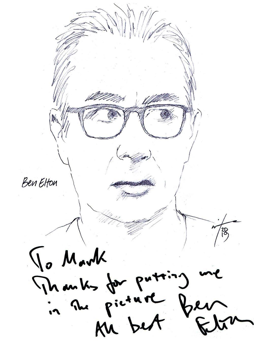 Autographed drawing of writer Ben Elton