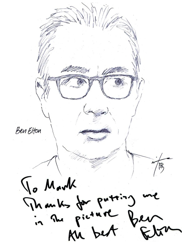 Autographed drawing of writer Ben Elton