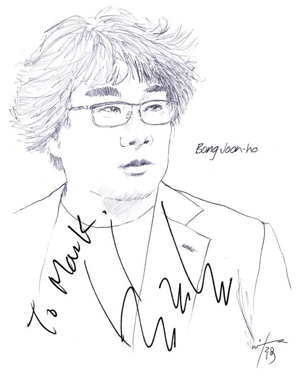 Autographed drawing of director Bong Joon-ho