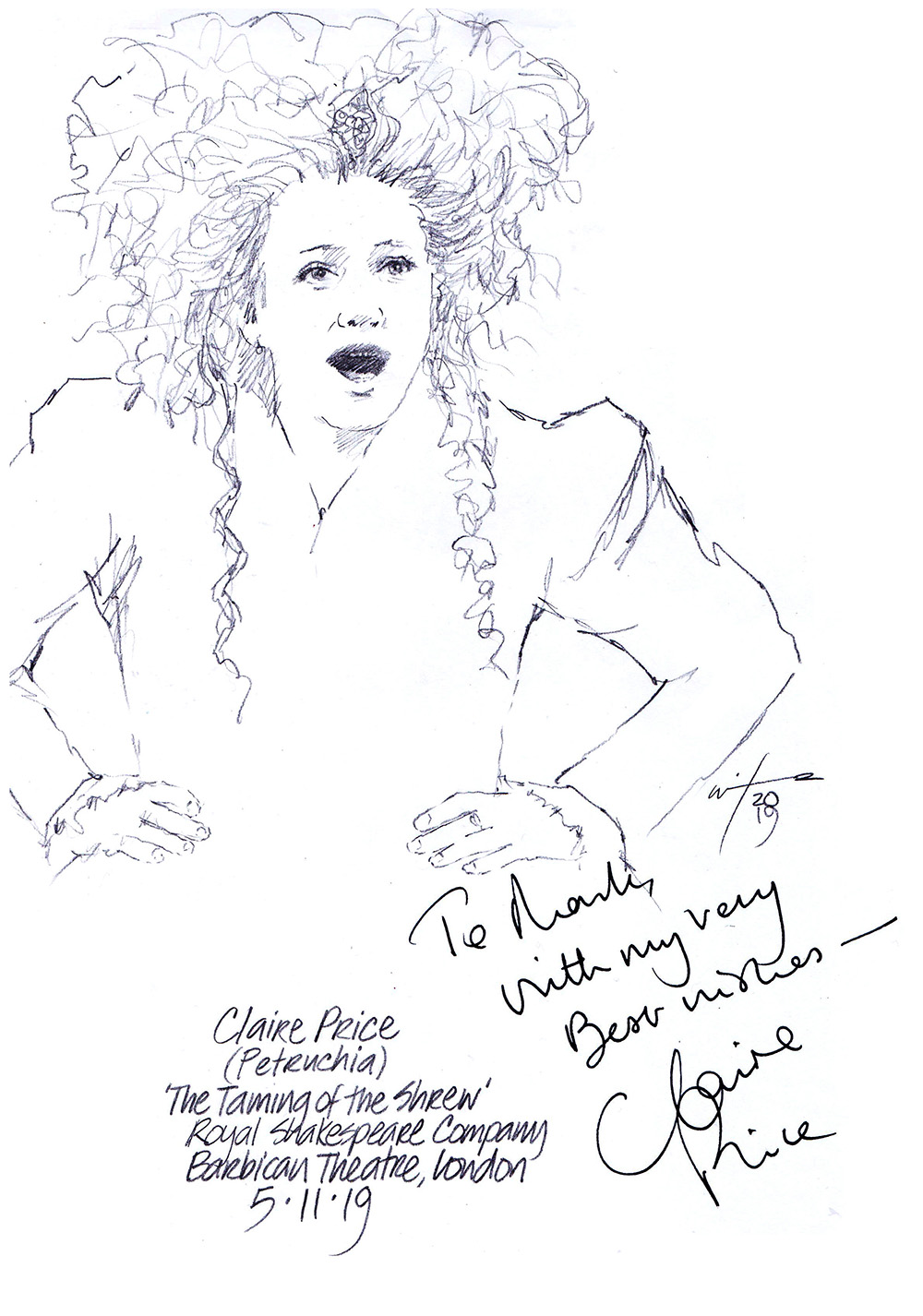Autographed drawing of Claire Price as Petruchio in The Taming of the Shrew