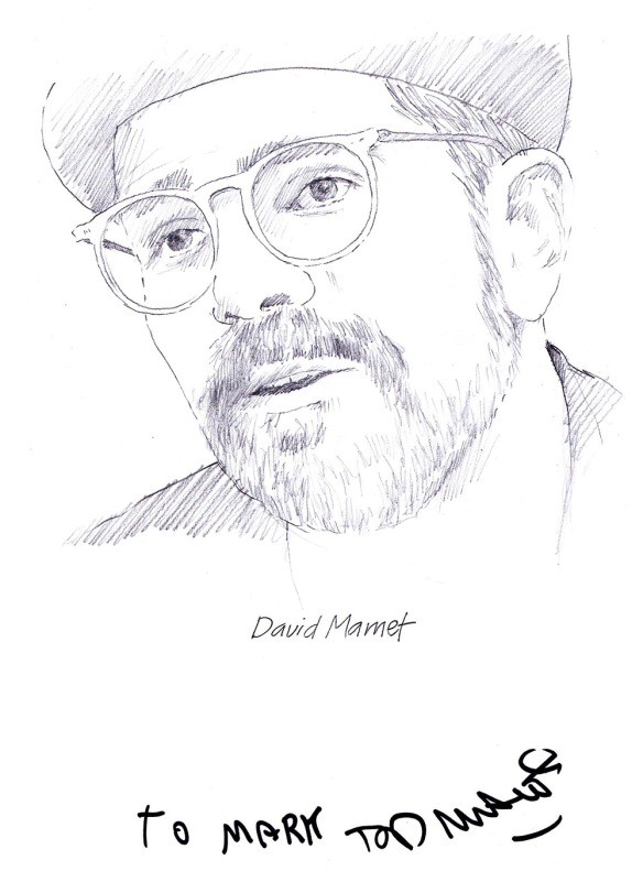 Autographed drawing of writer David Mamet