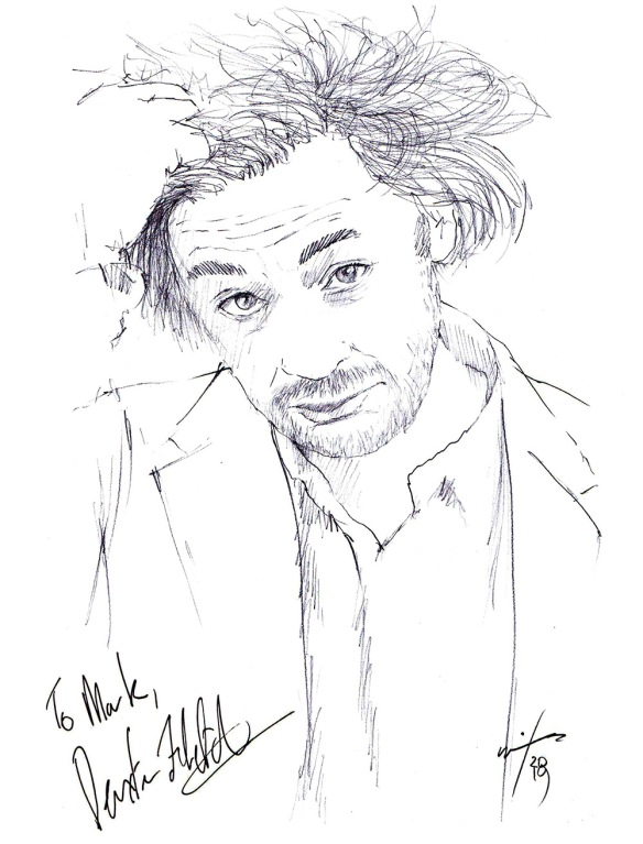 Autographed drawing of director Dexter Fletcher