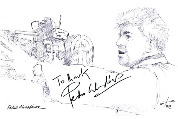 Autographed drawing of film maker Pedro Almodovar