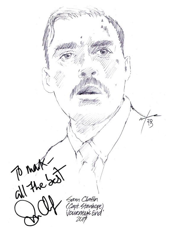 Autographed drawing of actor Sam Claflin in Journey's End