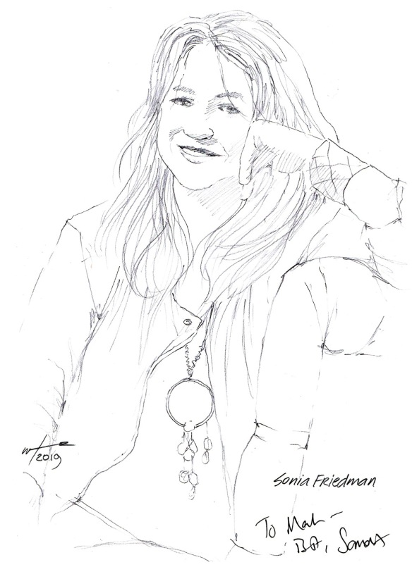 Autographed drawing of theatre producer Sonia Friedman