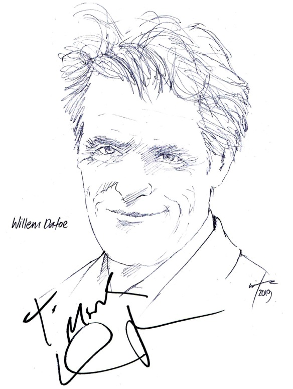 Autographed drawing of actor Willem Dafoe