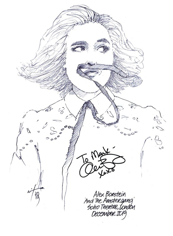 Autographed drawing of Alex Borstein in Alex Borstein and the Amstergang at London's Soho Theatre