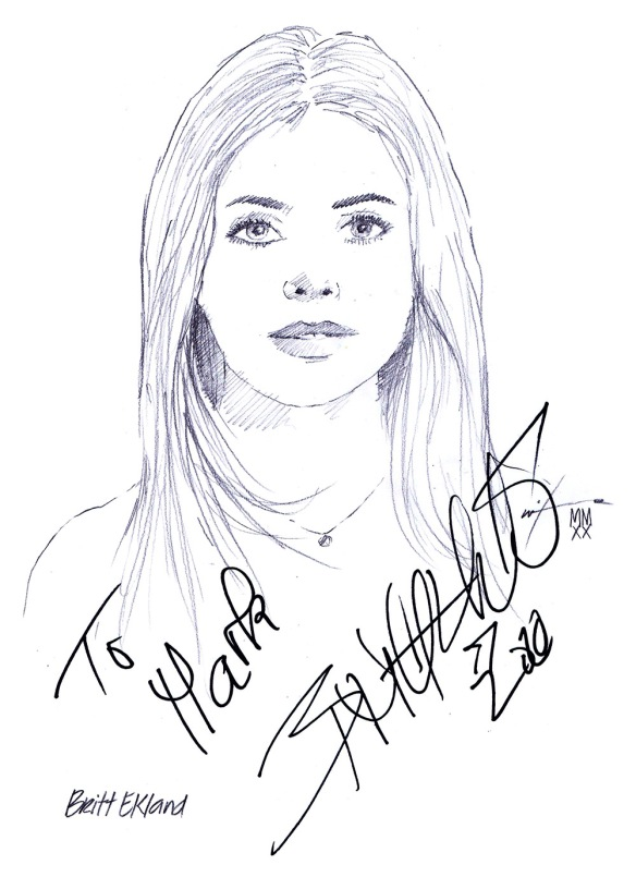 Autographed drawing of actress Britt Ekland