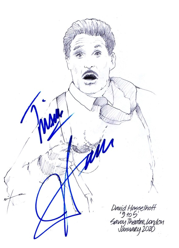 Autographed drawing of David Hasselhoff in 9 to 5 the Musical at the Savoy Theatre on London's West End