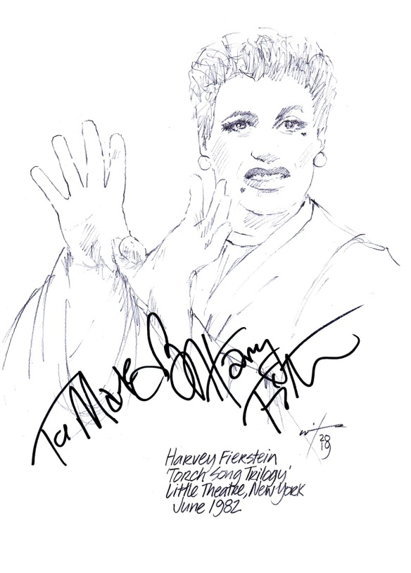 Autographed drawing of Harvey Fierstein in Torch Song Trilogy at New York's Little Theatre