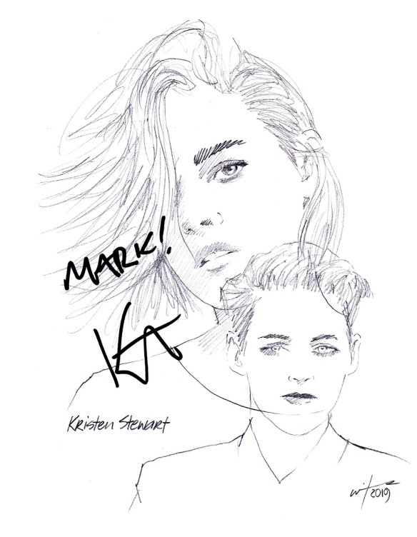 Autographed drawing of actor Kristen Stewart