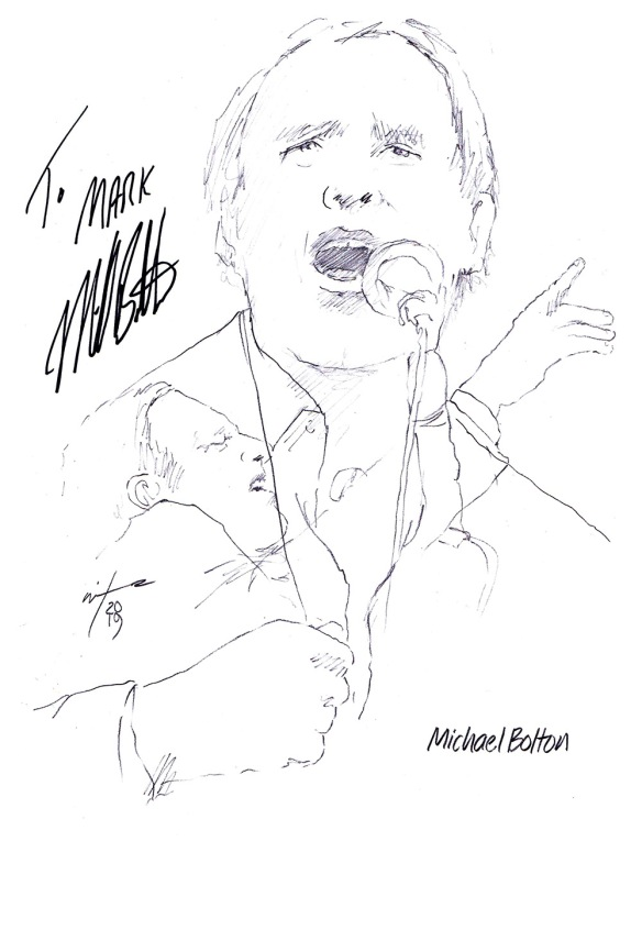 Autographed drawing of singer Michael Bolton