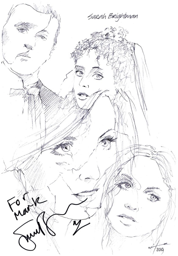 Autographed drawing of musical theatre star Sarah Brightman