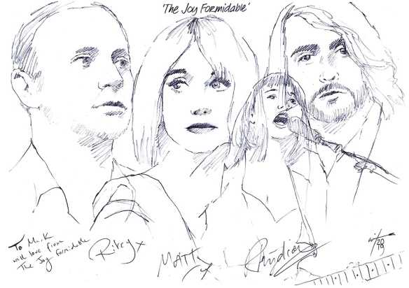 Autographed drawing of The Joy Formidable
