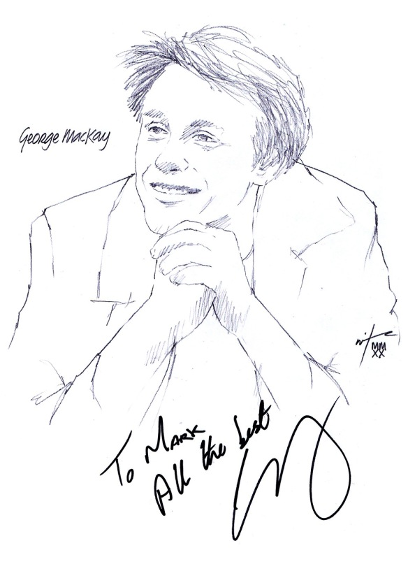 Autographed drawing of actor George MacKay