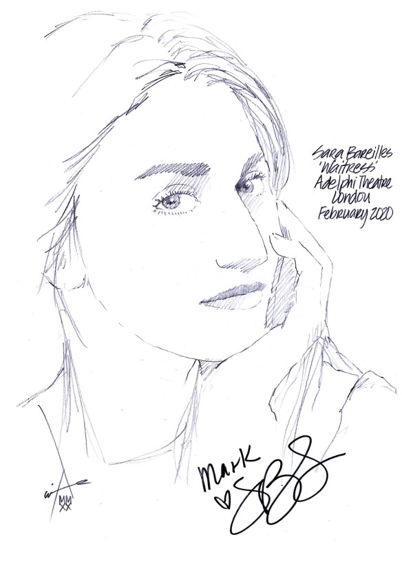 Autographed drawing of Sara Bareilles in Waitress at the Adelphi Theatre on London's West End
