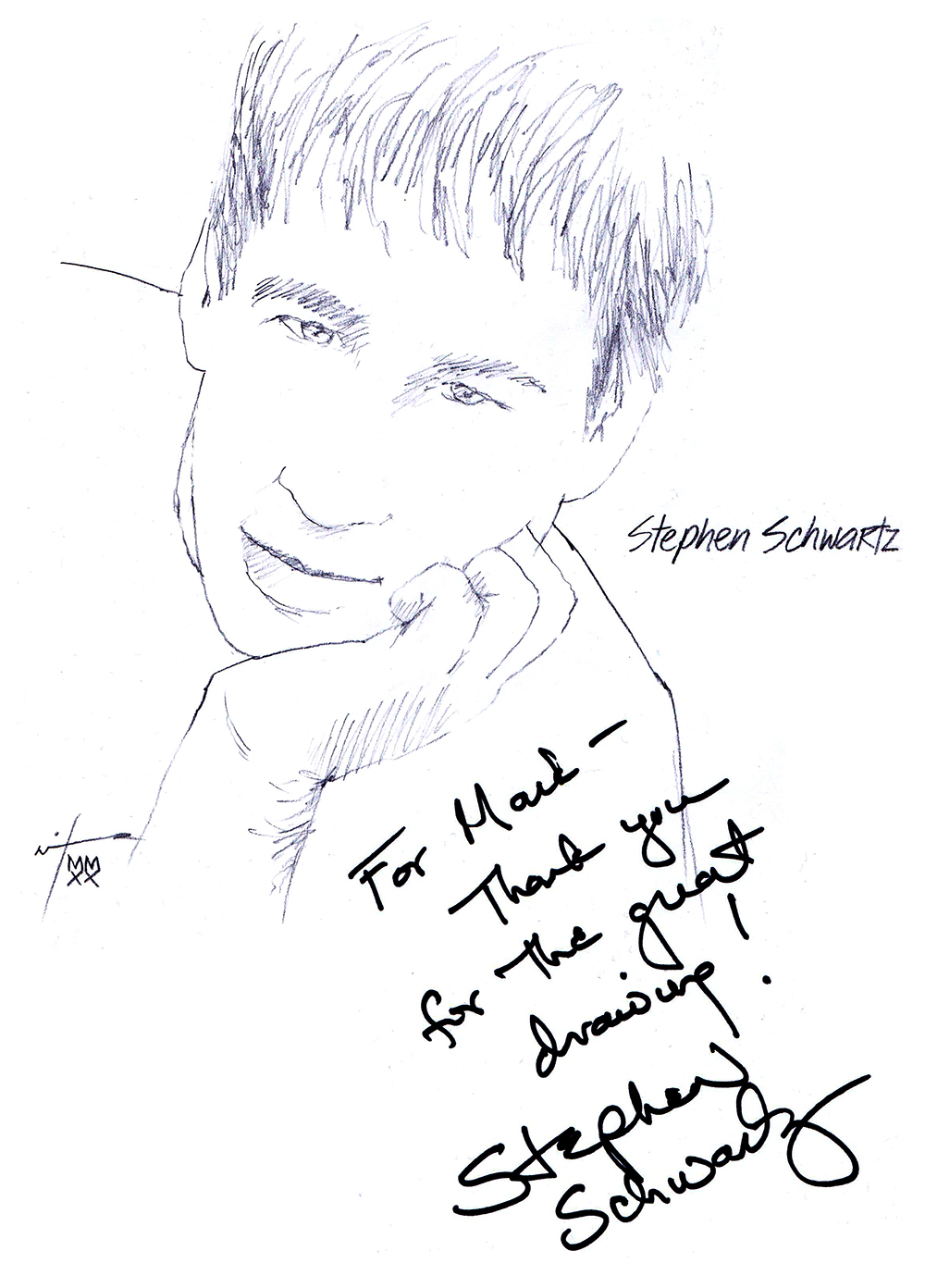 Autographed drawing of composer Stephen Schwartz