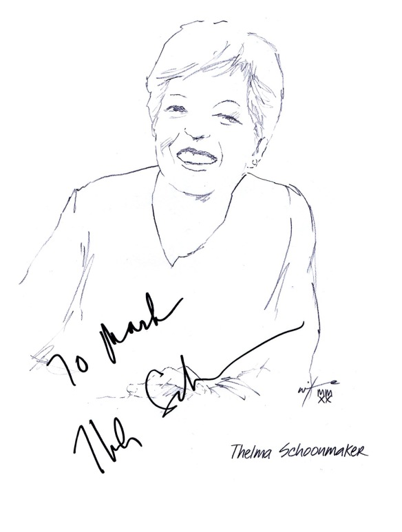 Autographed drawing of editor Thelma Schoonmaker