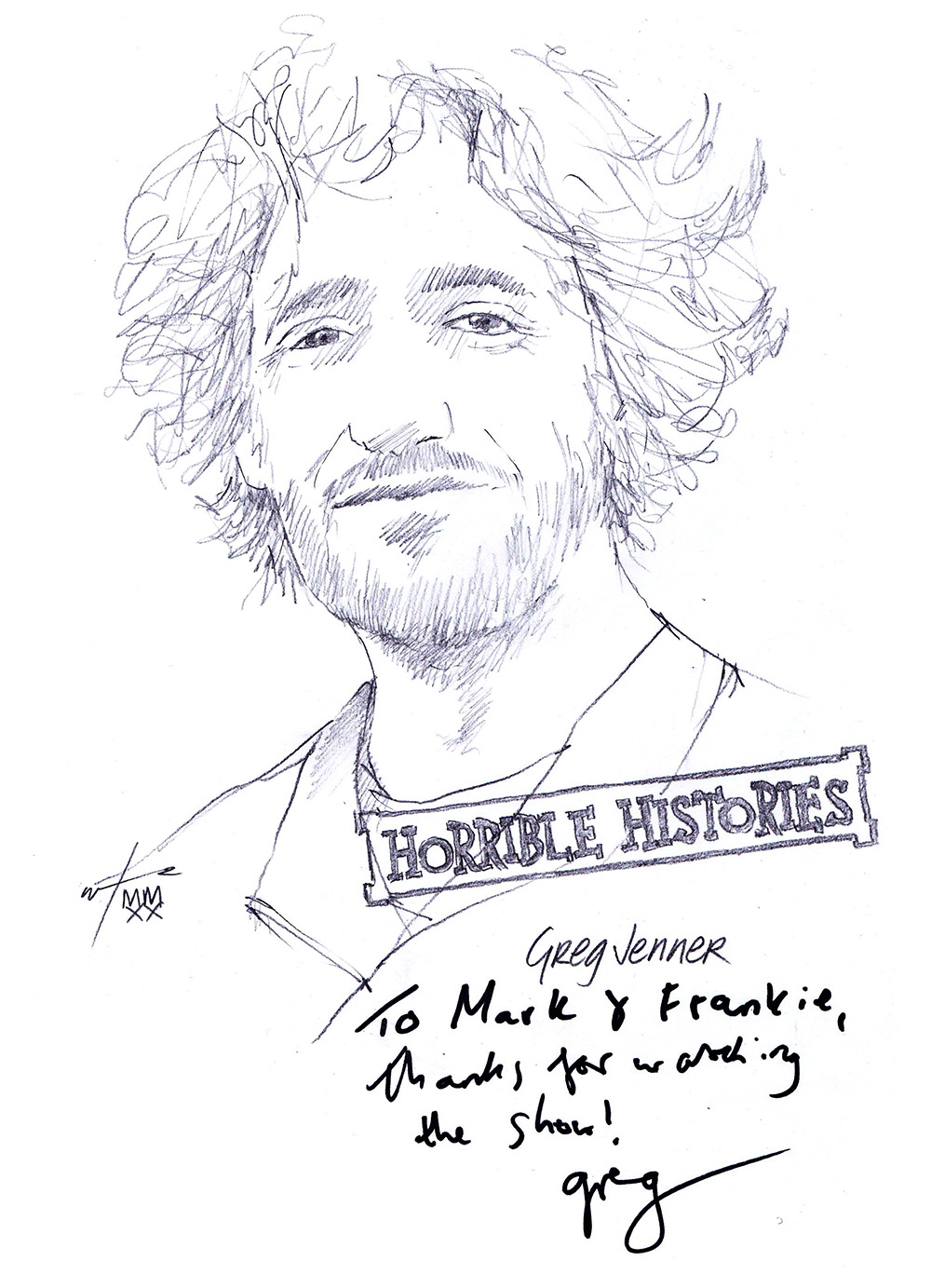 Autographed drawing of public historian Greg Jenner