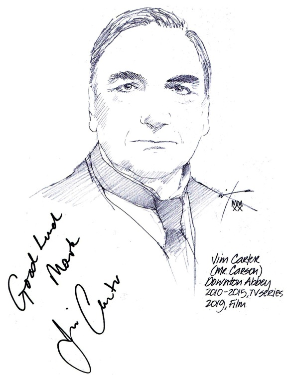 Autographed drawing of actor Jim Carter in Downton Abbey